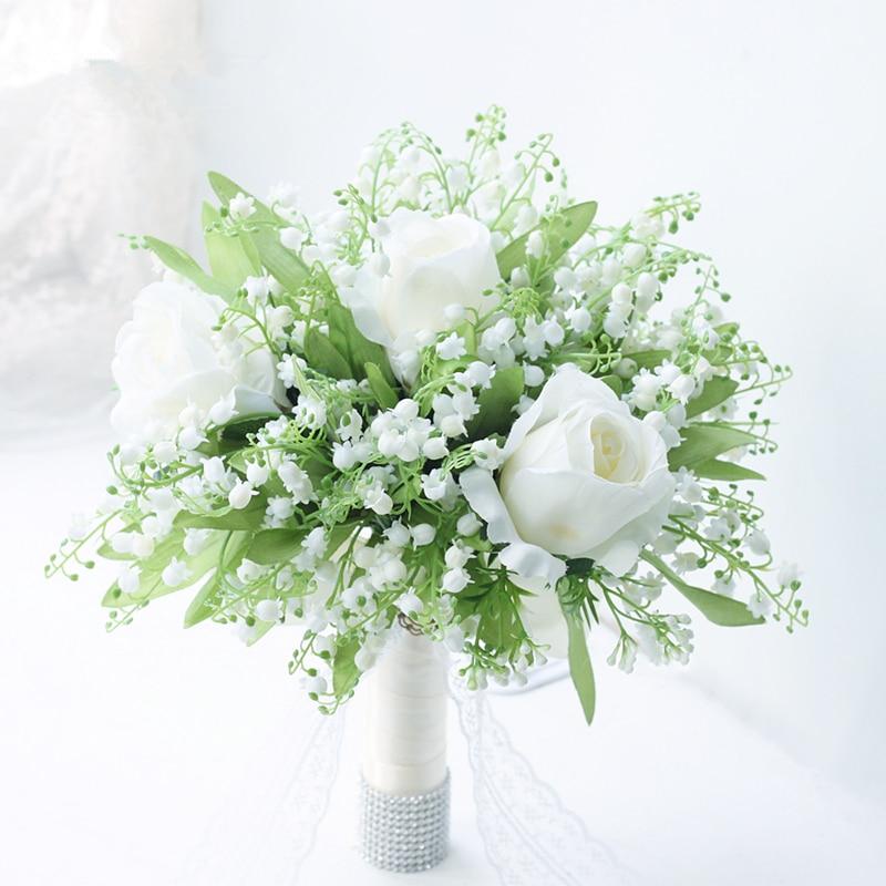 Ramo de boda para ramo de flores de seda blanco nupcial Rosa lirio del valle ramo de flores de boda flor Artificial de celebración