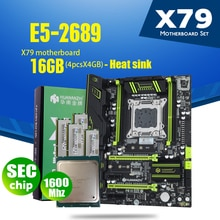 Huananzhi x79 placa-mãe lga 2011 combos e5 2689 cpu 4 pçs x 4 gb = 16 gb ddr3 ram 1600 mhz pc3 12800 pci-e nvme m.2 dissipador de calor