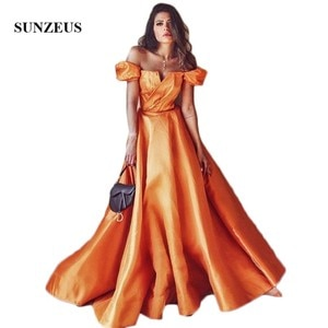 Off the Shoulder A-Line Evening Dresses 2021 Short Sleeve Orange Satin Evening Gowns Long Strapless Girls Prom Party Gowns