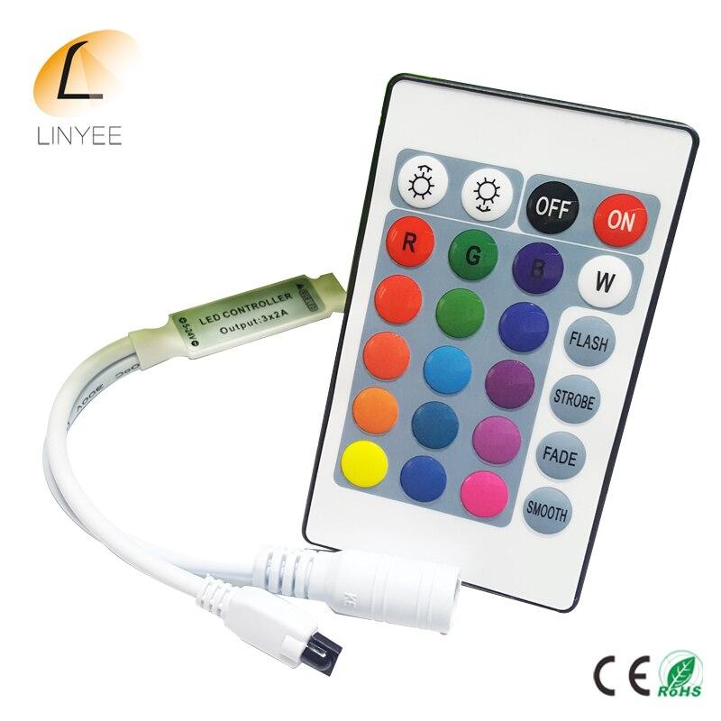 Mini controlador remoto de 24 teclas IR RGB Led tira DC 12 V 24 controlador de llaves para 3528 SMD 5050 2835 LED luces de tira