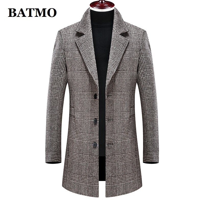 Batmo 2021 جديد وصول الشتاء الصوف سميكة منقوشة عارضة خندق معطف الرجال ، الرجال الشتاء معطف دافئ ، جواكت شتوية الرجال 898