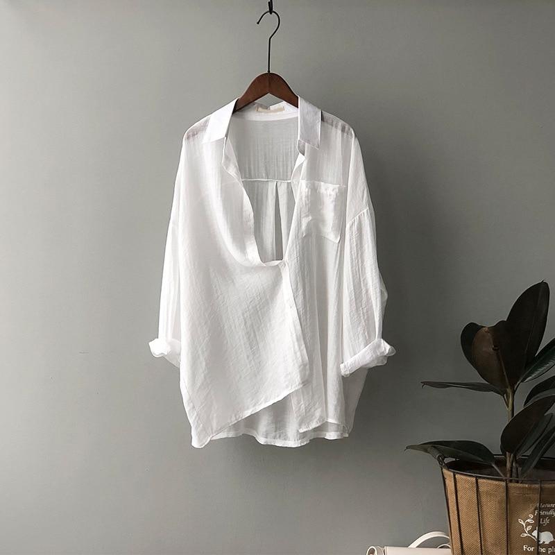 CMAZ Women Blouses Summer Tops Leisure White Shirts Button Cardigan Top Loose Long Sleeve Linen Shir