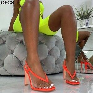 Summer Gladiator Sandals Women Sexy Orange High Heel Sandals Lady Fashion Back Strap Sandals Flip Flops Square Heel Shoes Women