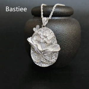 Bastiee Lotus Flower 999 Sterling Silver Big Pendant Women Accessories Chakra Necklace Weave Hollow Out Luxury Jewelry Vintage