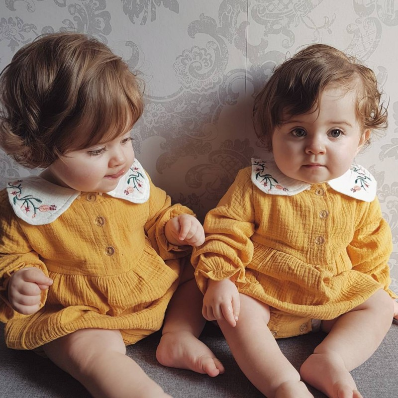 Hot Baby Peter Pan Collar Girl Romperborn Infant Cotton Jumpsuit Long Sleeve Toddler Kids Clothing Sets
