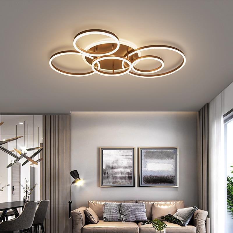 حلقات دائرة Led الحديثة أضواء السقف لغرفة المعيشة غرفة نوم غرفة الدراسة مصباح السقف أبيض/بني/أسود/ذهبي اللون 90-260 فولت