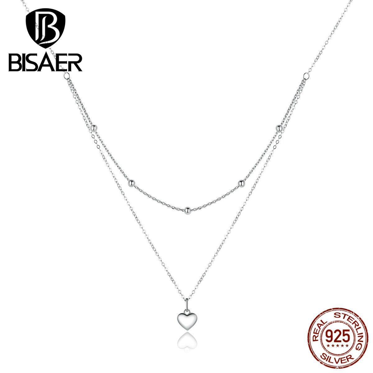 Ожерелье в форме сердца s BISAER, 925 пробы, серебро, подарок на день Святого Валентина, ожерелье с сердечком, цепочка для ювелирных изделий EFN168