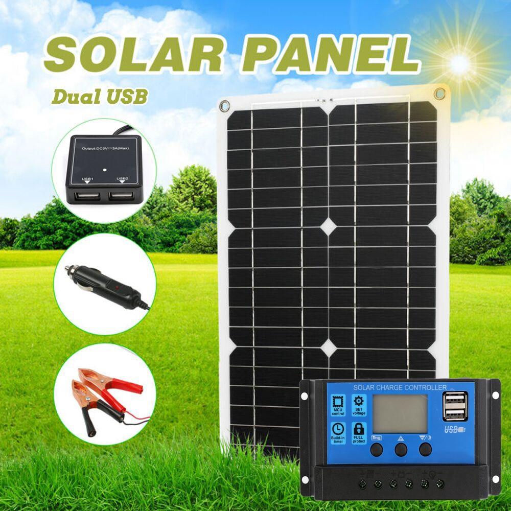 180 واط 12 فولت لوحة طاقة شمسية مجموعة في الهواء الطلق الشمسية شاحن بطارية 1/2 منفذ USB مع 20A جهاز تحكم يعمل بالطاقة الشمسية شاشة الكريستال السائل ل...