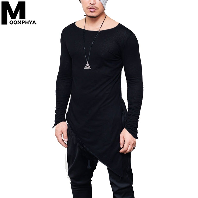 Moomphya 2019 nueva camiseta Irregular de manga larga con dobladillo para hombres, camiseta de hip hop de Streetwear para hombres, camiseta con estilo, camiseta para hombres