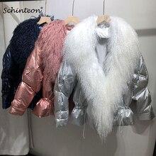 Women Winter Down Jacket Big Real Fur Outwear with Detachable 100% Genuine Mongolian Fur Fashion Loose Over Size Warm Coat