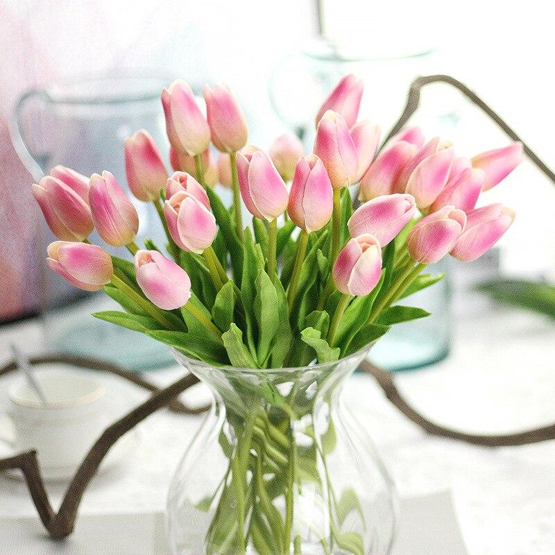Tulipas artificial para decoração 1 peça, flores artificiais com toque real para decoração de casamento