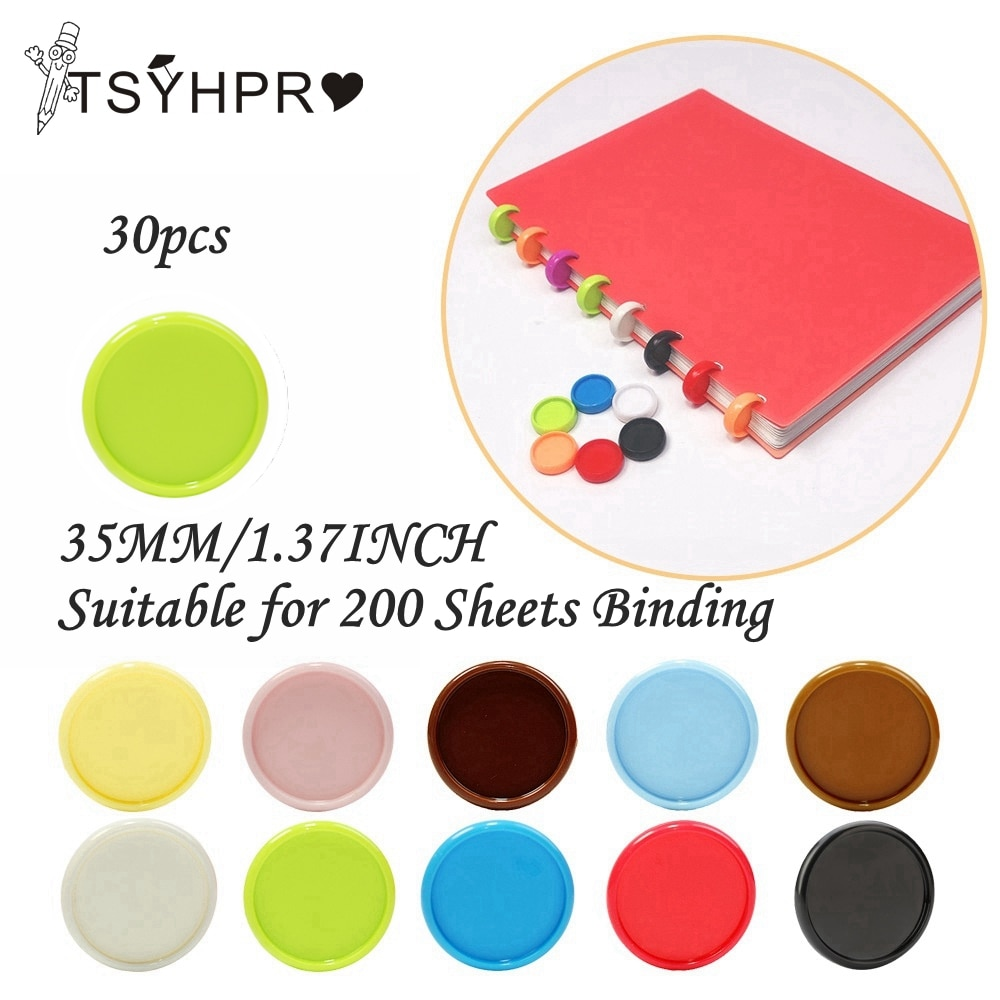 30 Pcs Binding Rings for Notebooks 35mm Diy Binding Discs Mushroom Loose Leaf Binder Planner Disc Office Supplies