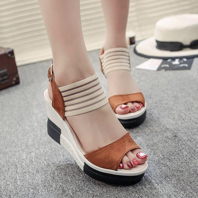 Cuñas zapatos de mujer de moda informales con hebilla de cinturón, zapatos de tacón alto, sandalias de Boca de pescado, sandalias de lujo para mujer, buty damskie 2019
