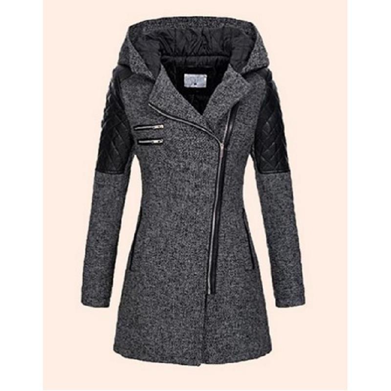 النساء الشتاء معطف مقنع الخريف سستة ضئيلة قميص الربيع أزياء خليط أسود الإناث الدافئة صامد للريح معاطف