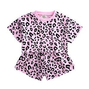 Girls summer dress new short-sleeved suit little girl leopard print short-sleeved T-shirt + shorts cotton casual two-piece suit