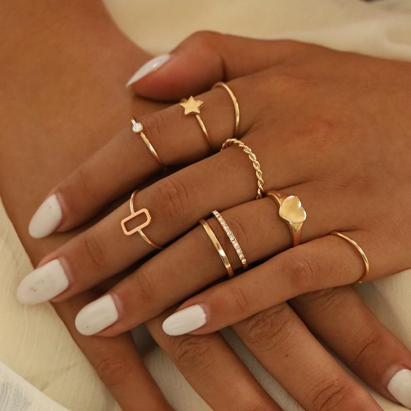 XIYANIKE 8 Pcs/Set Women Fashion Rings Hearts Star Gold Color Hollow Geometric Crystal Finger Ring Set Wedding Jewelry Wholesale