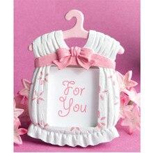 Hot 1pc Kawaii Pink Baby Dress Shape Synthetic Resin Photo Frame Kids Birthday Shower Decor Mini Pho