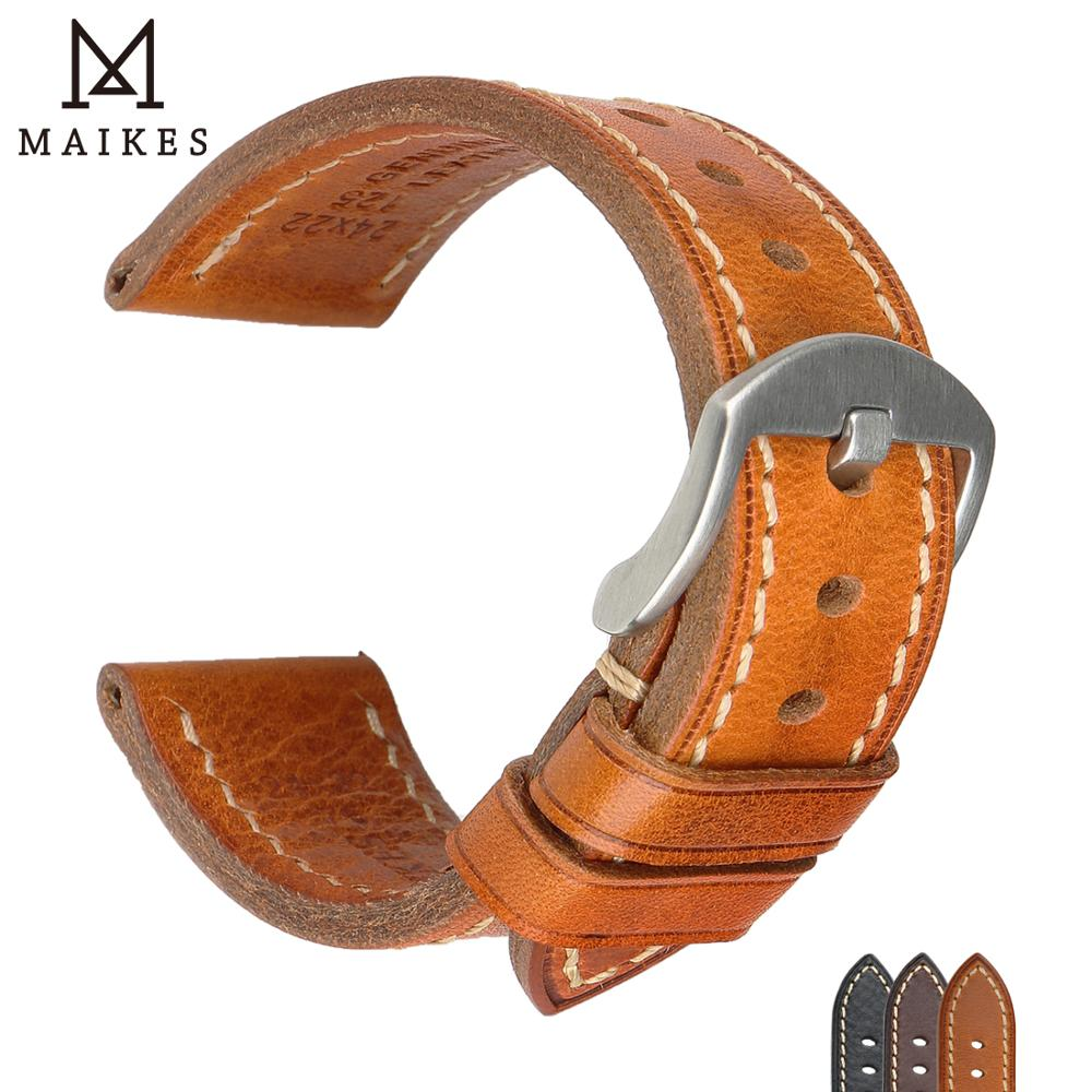 MAIKES Universal Leather Watch Band 18mm 19mm 20mm luxury Genuine Replacement Watchband light brown Strap
