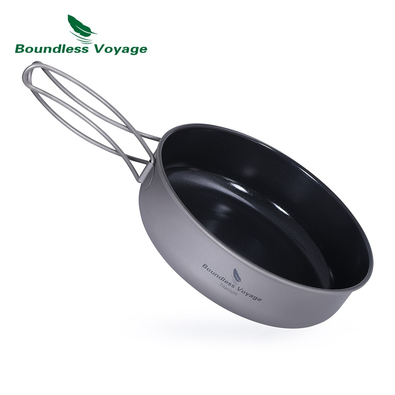 مقلاة تيتانيوم غير لاصقة بمقبض قابل للطي للتخييم والنزهات ، أواني الطعام ، Ti15169B
