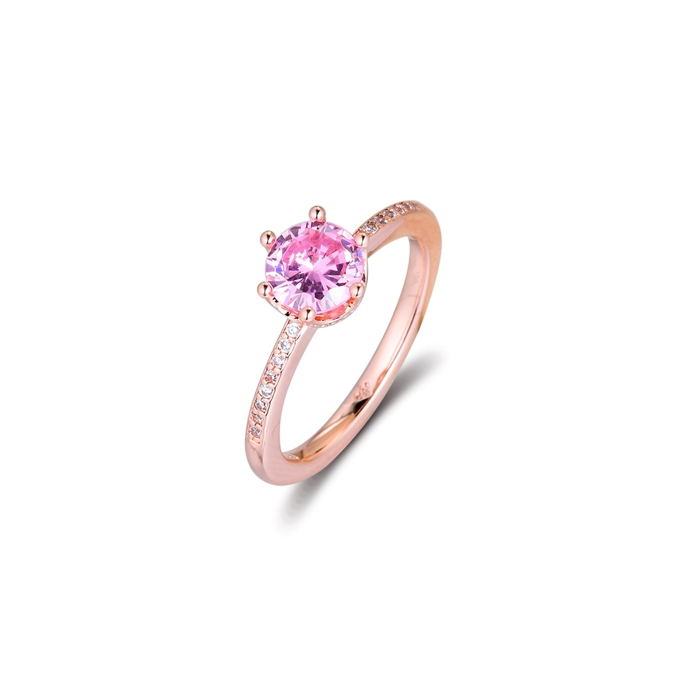 Pink Sparkling Crown Solitaire Ring Sterling Silver Jewelry Fashion Wedding Rings for Women Ring Jewelry