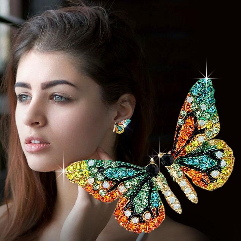 2020 nueva moda europea y americana personalidad corta mariposa oreja uña color taladro fiesta accesorio oreja uña