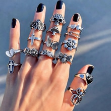 Vintage Gothic Skull Flower Angel Rings for Women Hip Hop Silver Color Butterfly Heart Finger Ring Fashion Streatwear Jewelry
