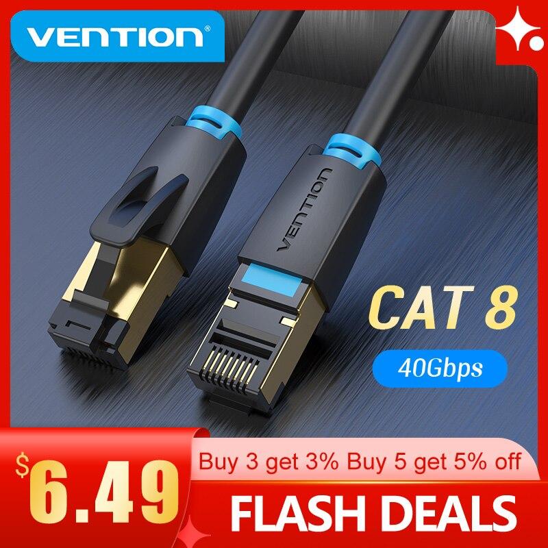 Vención de La Cat8 Cable Ethernet SSTP 40Gbps 2000MHz gato 8 RJ45...