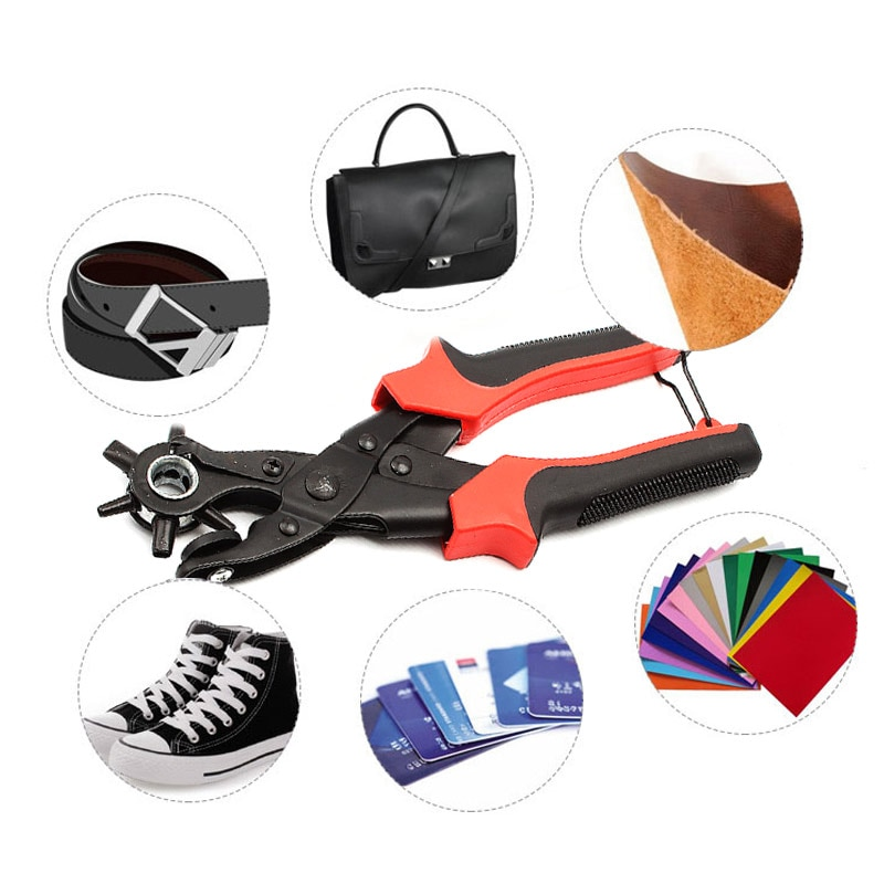 Купить с кэшбэком Punching Revolving Leather Punch Plier Punch Hole Tool Puncher for Belts Saddle Watch Bands Strap Shoe Fabric Paper Leathercraft