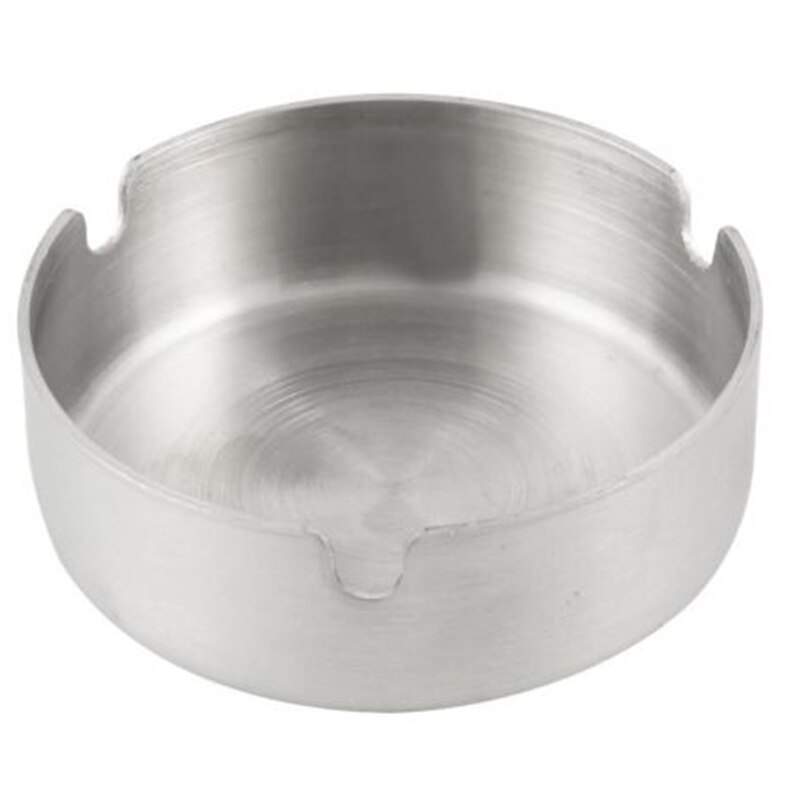 1pc Silber Durable Zigarette Aschenbecher Edelstahl Runde Form Aschenbecher 8cm Durchmesser