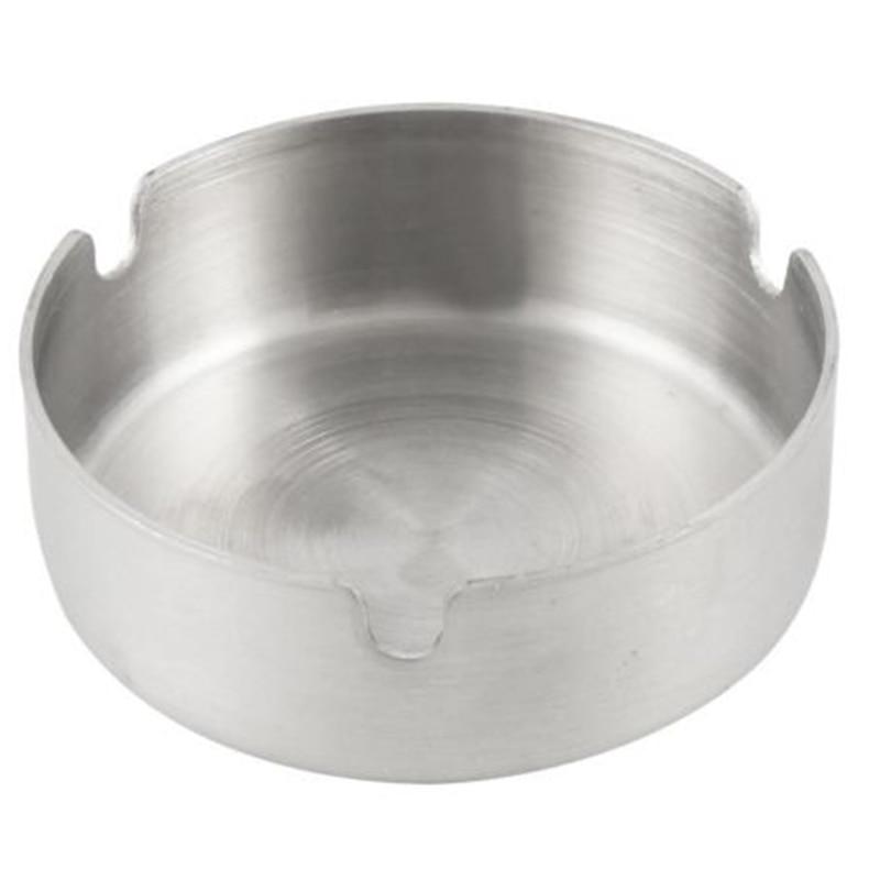1pc de plata duradera Cenicero cigarrillo de acero inoxidable Cenicero de forma redonda de 8cm de diámetro