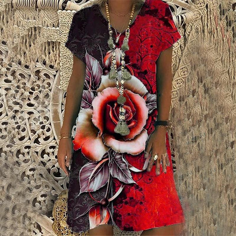 Summer Fashion Rose Print Short-sleeved V-neck Dress Loose Casual Midi Dress  Plus Size Vacation Beach Dress summer jumpsuits short sleeve bohemia floral print v neck beach vacation belt chiffon big size 2019 top fashion clothes