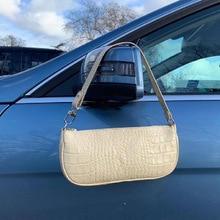 New PU Leather Fashion Crocodile Pattern Shoulder Bag Hand Bag Personality Versatile Patent Leather Underarm Bag Handbag