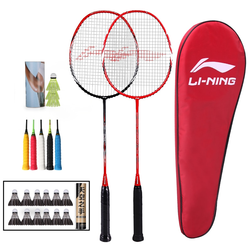Authentic Li Ning Badminton Racket Single Double Racket Durable Full Carbon Ultra Light Badminton Racket Set Professional Racket