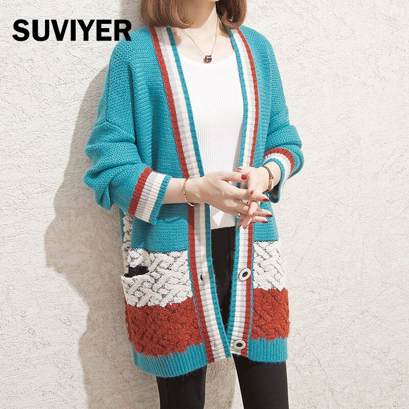 [SUVIYER] Autumn Winter Knitted Cardigan Striped Sweater Women Coat Loose Batwing Sleeve  V-Neck Clothes For