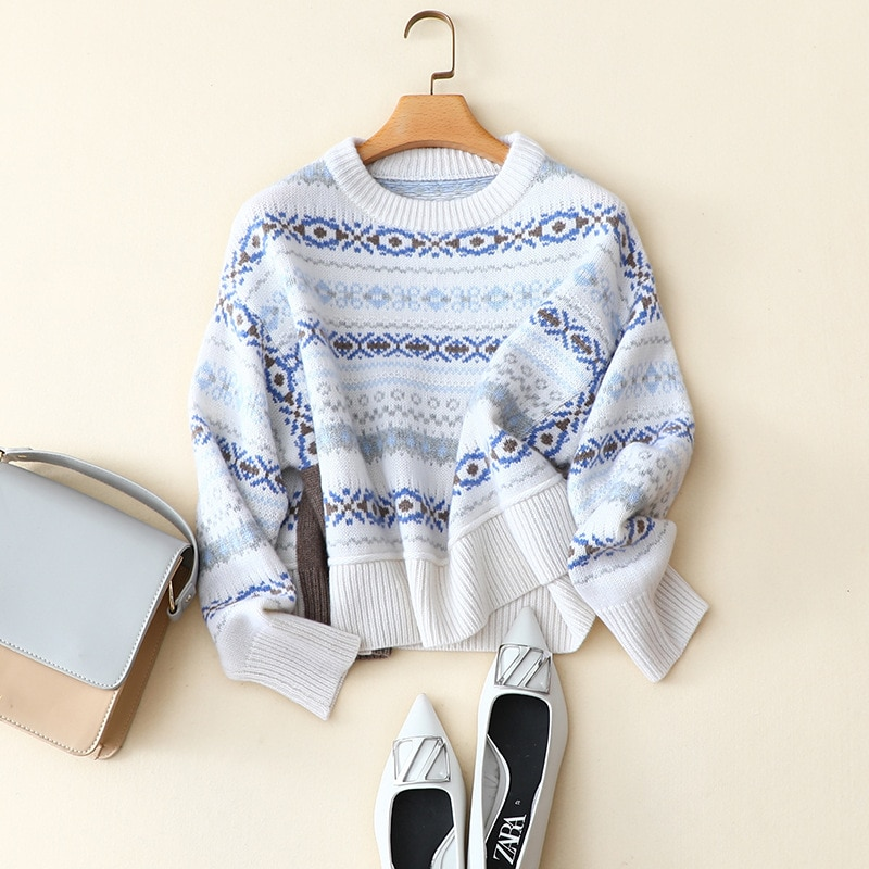 Women Designer Clothing Sweaters Cashmere High Street Geometric New Years Sweater for Womens Arrival