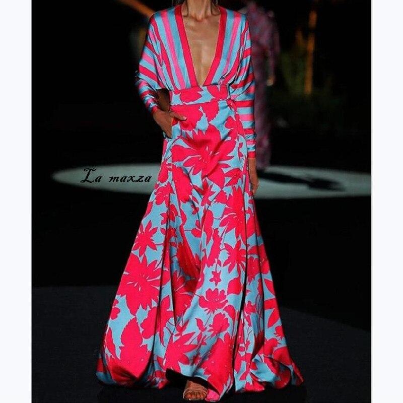 Sexy Fashion Print Women Maxi Dress 2020 Party Night Deep V-neck Women Dress Lantern Sleeves