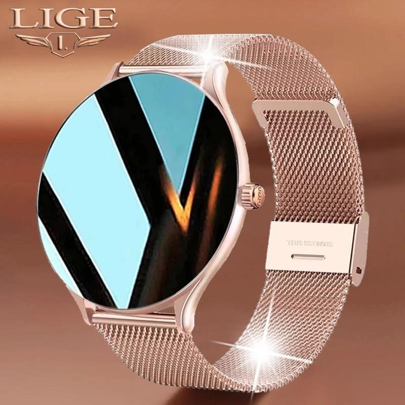 LIGE New Full Circle Touch Screen Luxury Smart Watch Women Smart Wristband Fitness Bracelet Men Hear