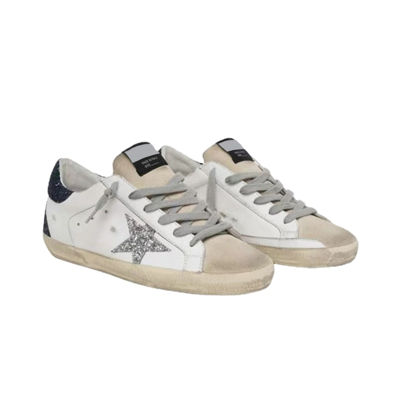 Spring and Autumn Children's Shoes First Layer Cowhide Old Small Dirty Casual Silver Sequined Stars Parent-child Sneakers QZ51 enlarge