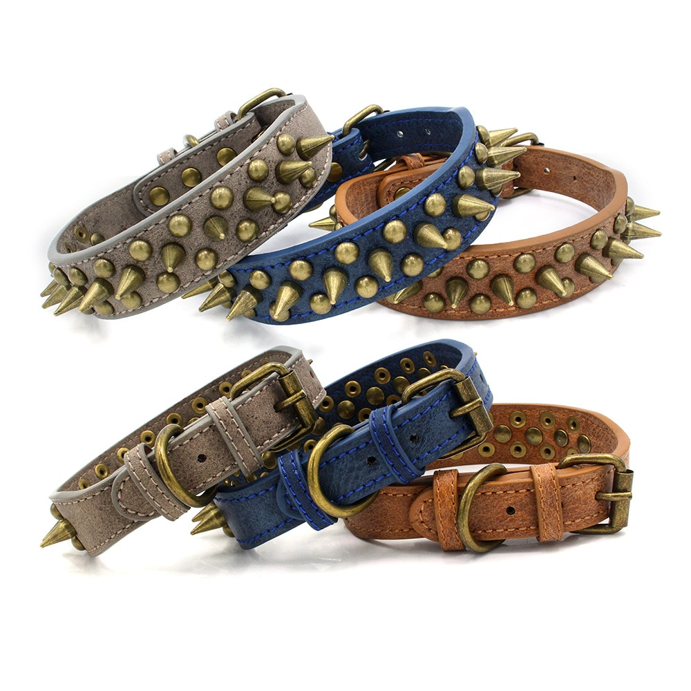 Harp Spiked Studded Leather Dog Prickly Collars Punk For Small Medium Large Dogs Pet Collar Anti-Bite Pet Products Neck Bulldog