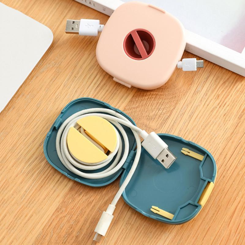 Caja de almacenamiento de cables de datos portátil, Carga de auriculares giratoria...