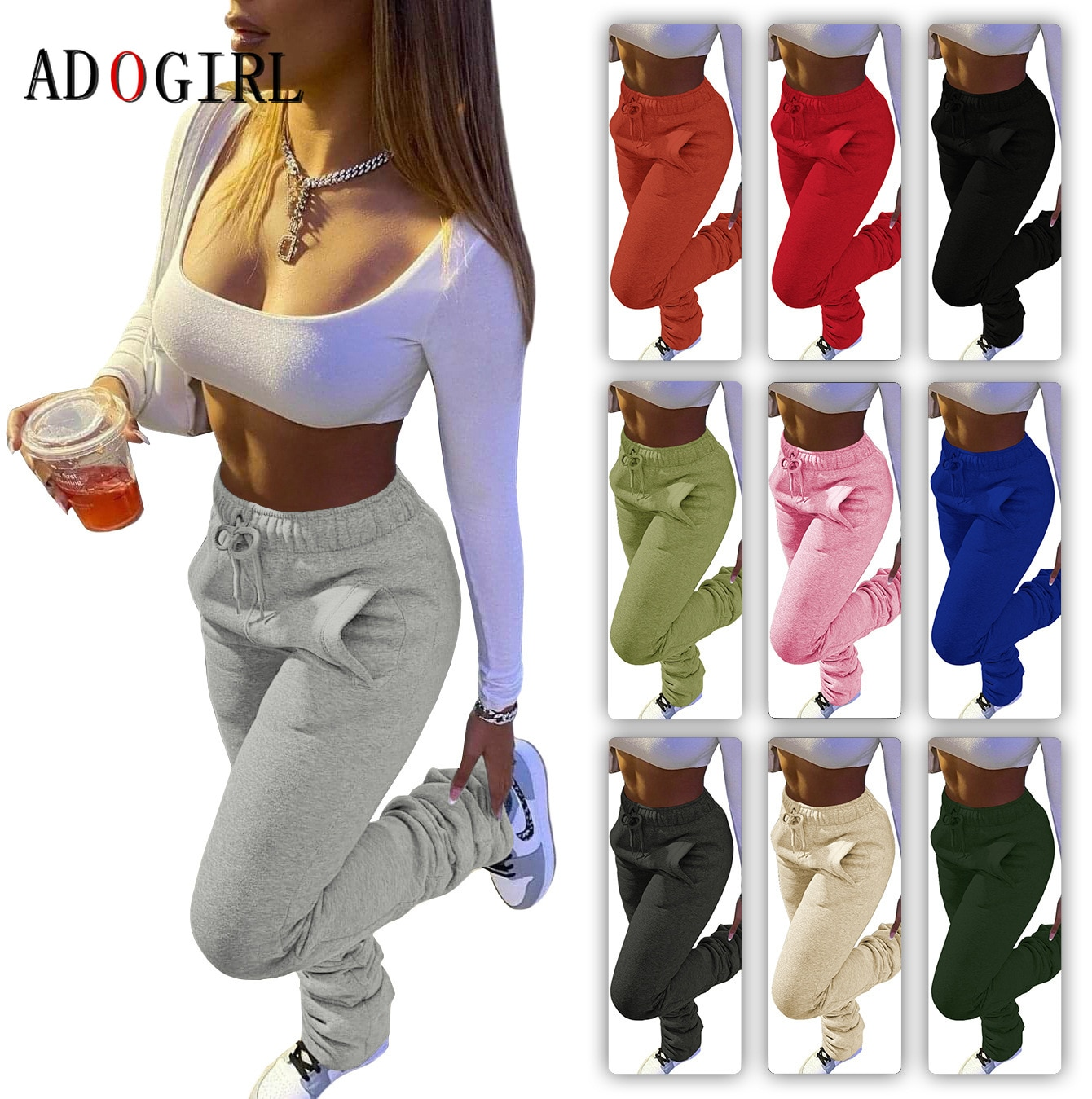 Décontracté solide empilé pantalons de survêtement femmes décontracté taille élastique survêtement pantalon automne hiver épais chaud froncé Legging 7 couleur 3XL