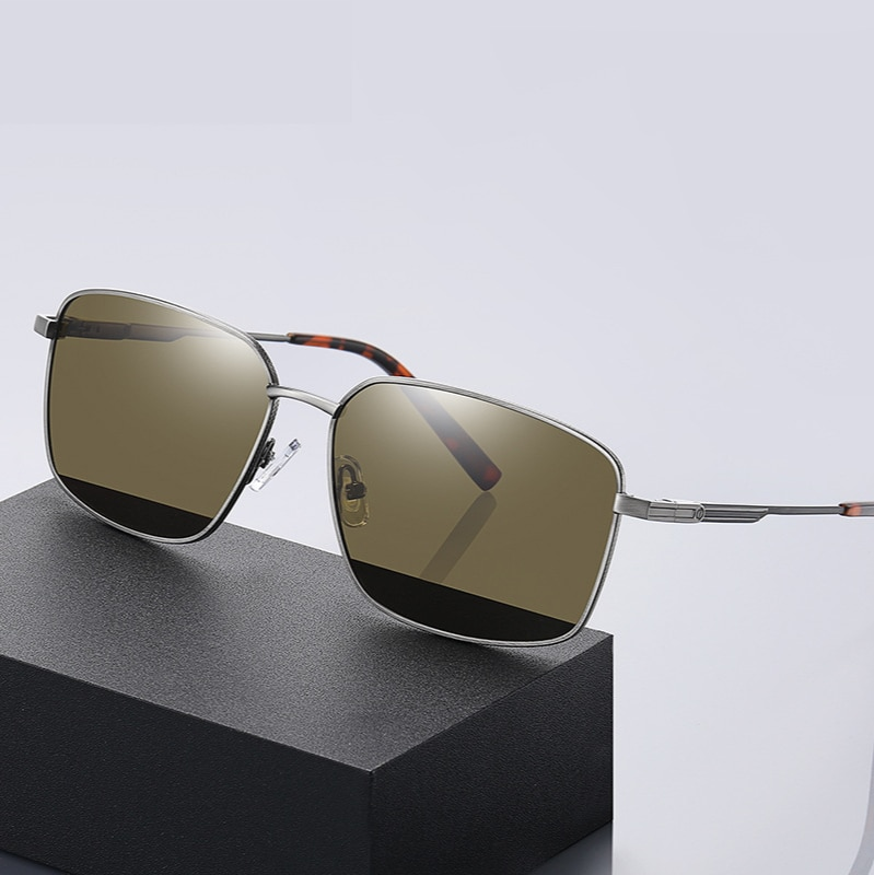 Men Polarized Sunglasses Metal Square Frame Vintage Rays Brand Designer High Quality Driveing Sun Gl