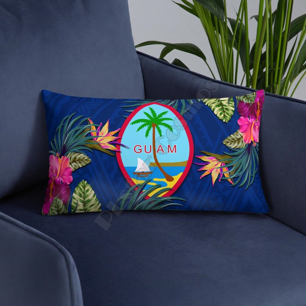 Guam Polynesian Pillow Hibiscus Coat of Arm Pillowcases Throw Pillow Cover Home Decoration  - buy with discount