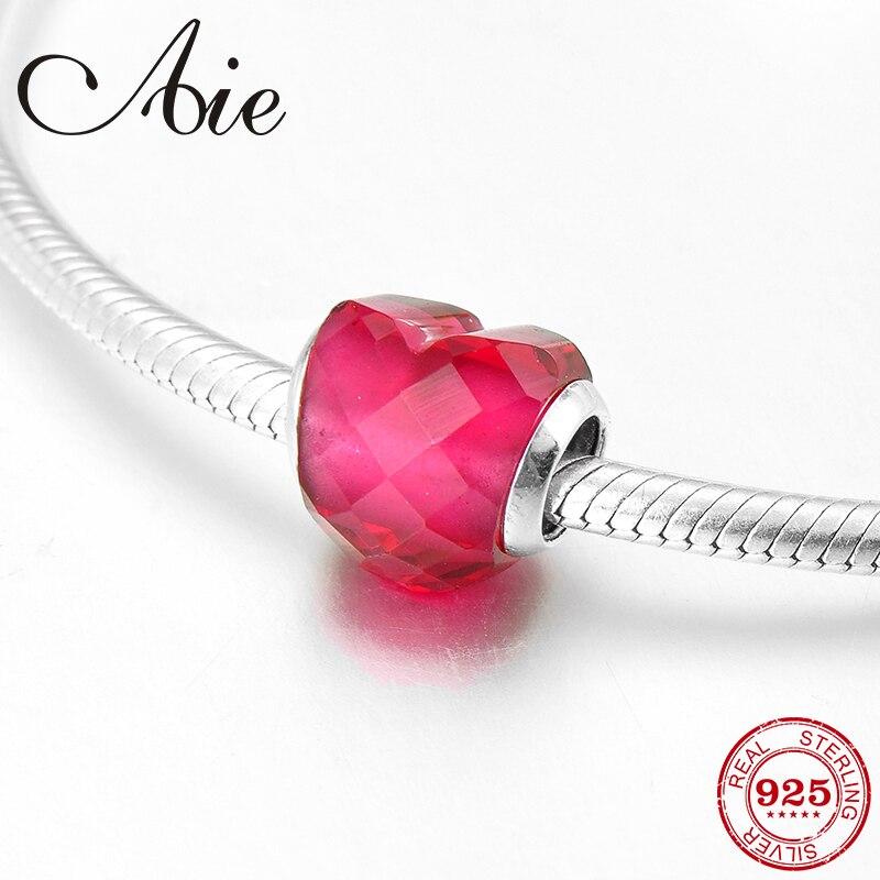 Новинка 2018, блестящий темно-розовый браслет с кубическим цирконием в форме сердца, из серебра, с изящными бусинами, подходит для оригинально...