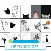 Toile de peinture  affiches danimaux  dessin anime de chat mignon  tableau dart mural pour decoration de salon  decoration de maison
