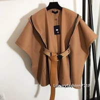luxury design 21 high end women clothes letter jacquard belt coat trenchcoat vintage shawl female coat capes ponchos and jackets