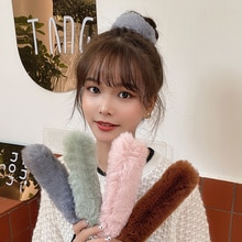 Autumn and Winter Plush Ring Pop Cute Pat-Bracelet White Headband Internet Celebrity Korean Style Ha