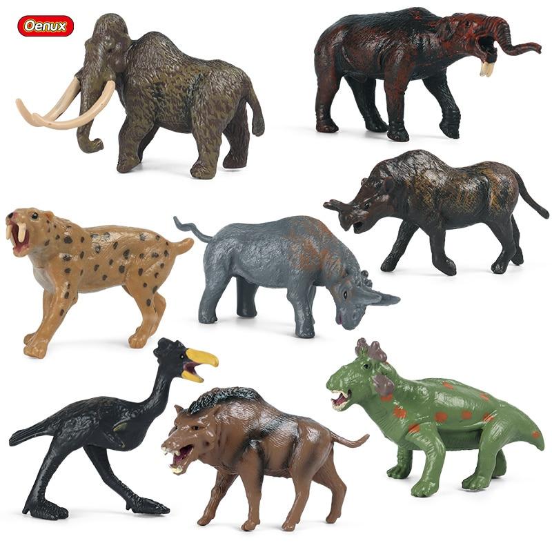 Oenux mini antiga pré-história animais selvagens sabre-dentes tigre mamute elefante figura de ação figurinhas pvc modelo educação brinquedos