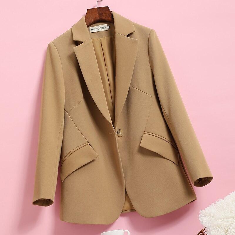 سترة مكتب نسائية بأكمام طويلة ، بدلة عالية الجودة ، ملابس غير رسمية ، لون عادي ، مجموعة خريف وشتاء جديدة