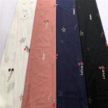Mode maille mode tissu brodé anglais cinq branches étoile broderie fille robe dentelle tissu